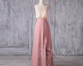 Separate Bridesmaid Dress,Champagne Spaghetti Strap Satin Chiffon Top,Dusty Rose Ruffle Chiffon Skirt,Two Pieces Slit Evening Dress(H620)