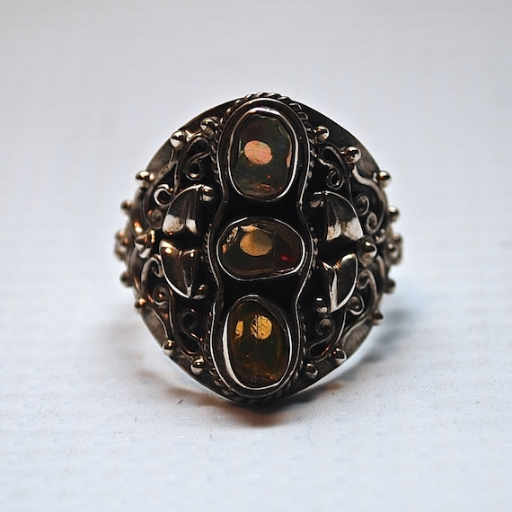 Sterling Silver Rough Ethiopian Opal Ring Sz 8.5 #3038