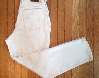 FREE US SHIPPING   Vintage 90s Lee Originals Beige High Waisted Tapered Stretch Jeans   8P - See Measurements