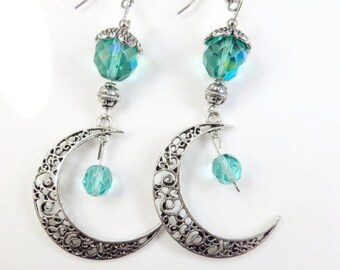Filigree moon earrings