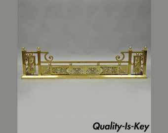 """Antique Ornate Brass Victorian Aesthetic Movement Fireplace Mantle Fender 48""""W"""