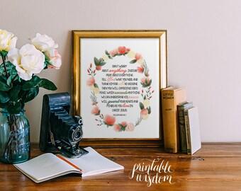 Bible Verse Printable Wisdom, Scripture Print Christian Bible verse print wall art print decor poster, typography - Philippians 4:6-7