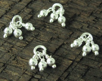 10 Sterling Silver Triple Bauble Drops Dangles or Cluster Charms - Oakhill Silver Supply C159
