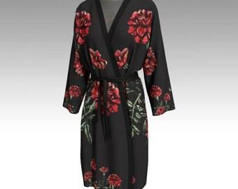 Custom print Kimono/ Long Robe/ Belted robe/ Loungewear/ Bathwear/ Pool robe/ Beach coverup/ Womens robe/ wedding party robes
