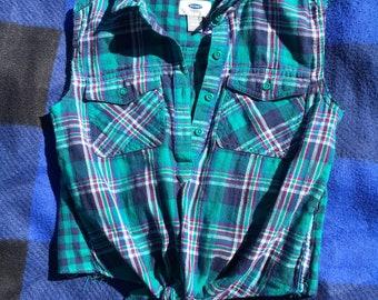 Upcycled Plaid Crop Top