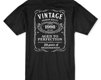Vintage Premium Quality  20 Years Of Awesomeness Men's Black T-shirt
