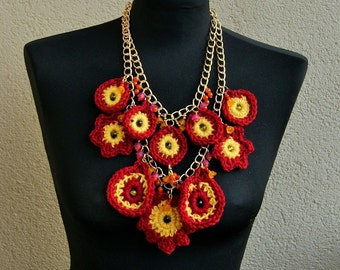 Summertime Statement,  Bib crochet necklace with bead, metallic, avant- garde, boho, crochet necklace, women gift, flower necklace, romantic