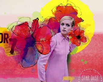 """Twiggy inspired,Digital Art collage """" Beginning of blossoming """",Giclee print on canvas, Collage art on canvas, art collage, wall art"""
