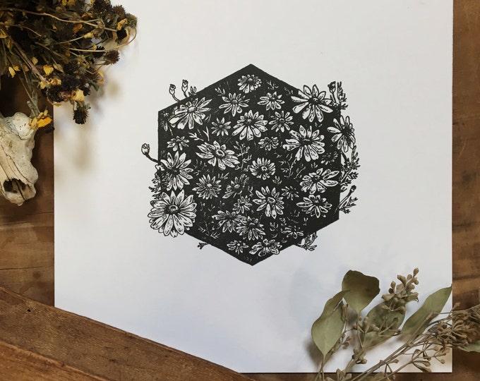 Chamomile Letterpress Print | Floral Art | Botanical Illustration | Vintage Inspired