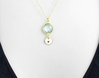 Birthstone Necklace, Initial Necklace, Personalized Necklace, Aquamarine Necklace, Custom Jewelry, March Birthstone, Gold Filled, silver