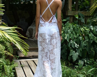 White Lace Backless Nightgown Bridal Lingerie Wedding Honeymoon Sleepwear Wedding Lingerie Lace Nightgown Lace Lingerie