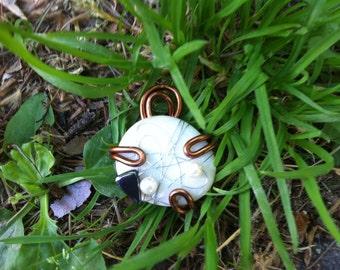 Stone, aluminium and hematite pendant-handmade