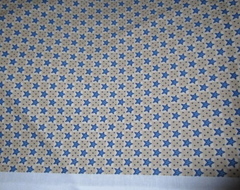 Little Blue Stars Cotton Material Fabric 1-1/2 Yard by Textile Arts & Film Inc Fabric