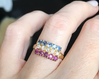 Victorian Ruby Sapphire and Diamond Ring