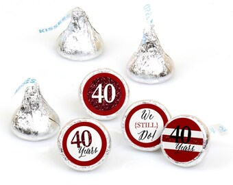 Hershey Kiss® Stickers - 40th Anniversary - Round Candy Label Party Favors - We Still Do - Hershey Kisses Labels - 108 per Sheet