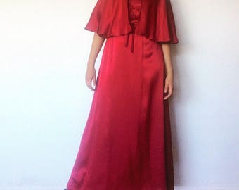 70s Red Satin Maxi Dress Cape Size S 5 6