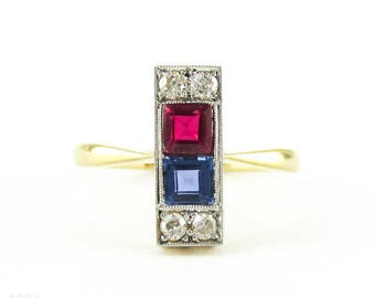 Art Deco Diamond Line Ring with Synthetic Sapphire & Ruby. Circa 1930s Line Ring with Milgrain Detail, 18ct PLAT.