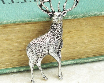Deer Tie Pin. Antiqued Pewter Tie Tack Pin