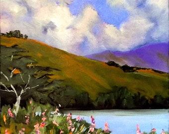 California Plein Air Landscape Painting Pond Wildflowers 16x20 Lynne French