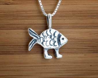 STERLING SILVER Darwin Fish with feet My ORIGINAL Pendant Necklace - Chain Optional