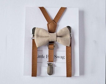 Rustic Wedding, Boy Leather Suspenders, Boy Bow Tie And Suspenders, Rustic Ring Bearer Outfit,Rustic Wedding, Burlap Bow Tie,Boys Suspenders