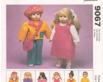 """1997 - McCalls 9067 Vintage Sewing Pattern Quick Easy 18"""" Doll Clothes Crafts Wardrobe Robe Pants Jumper Jacket Top Hat Nightgown Uncut"""