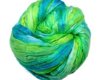 Mulberry Silk varigated roving, hand dyed in tones of the mediteranien