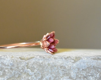 Rough Ruby Ring, Rose Gold and Ruby Ring, 40th Wedding Anniversary Theme Gifts, Women's July Gemstone, Birthstone Ring, Lotus Flower Jewelry