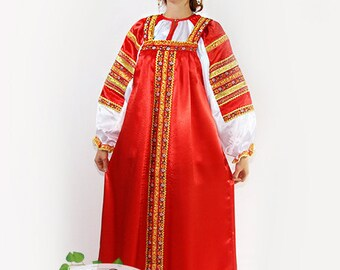 Russian traditional silk dress Vasilisa for woman, Silk russian dress, Sarafan, Scenic russian costume, Slavic dress, Historical costume