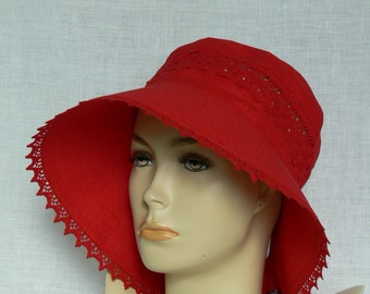 Linen hat, summer hat, women's hat, Oeko Tex,red
