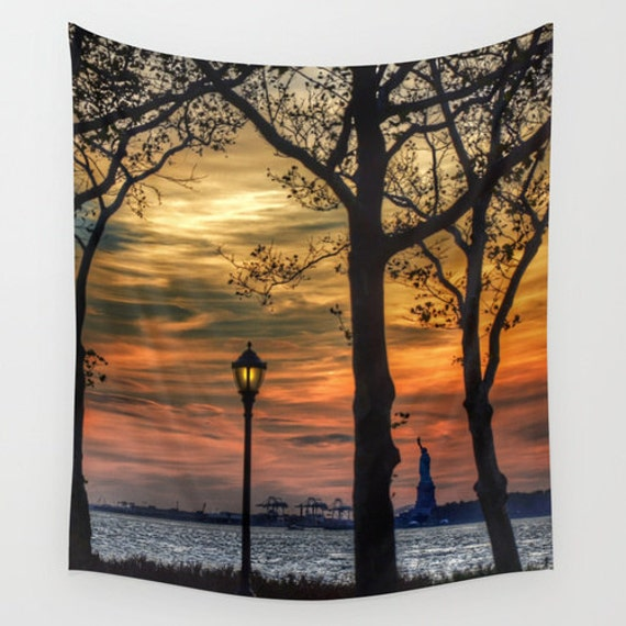 Sunset in New York, Large Wall Tapestry, Washable,Indoor, Outdoor, Home, Fine Art, Wedding, Dorm, Office, Privacy screen, Nature, City,Urban