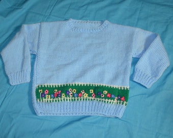Vintage Childrens Blue Flower Trimmed Hand Knit Pullover Sweater