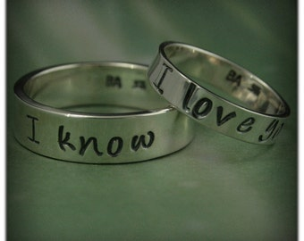 Star Wars Wedding Rings~4mm I Love You Ring~6mm I Know Band~Han and Leia Rings~Hand Stamped~Silver Wedding Set~Promise Rings~Anniversary
