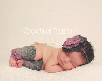 CROCHET PATTERN, Newborn Leg Warmers & Tieback, Newborn Photo Prop, Baby Crochet Pattern, Photography Prop Pattern, Newborn Crochet Pattern