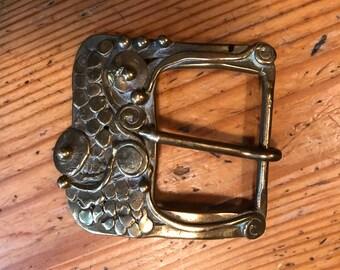 antique shoe buckle gold tone art nouveau style unusual 2 1/4