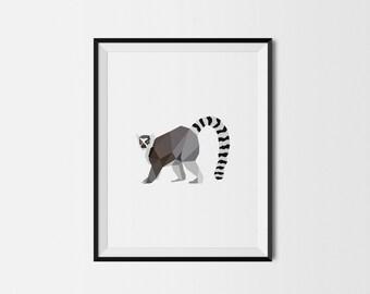 Geometric Art Print, Nursery Art, Baby Room Art, Lemur Art Print, Minimal Art Print