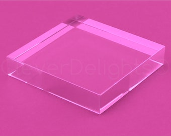 """5 Pk - 3"""" Square Glass Tiles - Clear Transparent Tiles - Solid Glass Tiles - 5/8"""" Thick  - 3 x 3 x 5/8 Inch"""