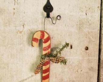 Candy Cane Ornament, Primitive Candy Cane Ornament, Country Christmas, Primitive Christmas Ornament, Wood Ornament, Primitive Ornament