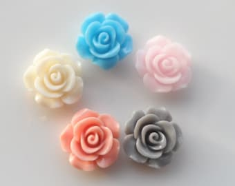 20 Pcs Rose Flower cabochon resin Colors  Delicate 14mm