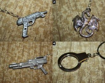 Weapons, Skulls, and Hardcore Hardware Necklaces and Keychains - CHOOSE OPTIONS