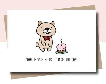 funny birthday card, happy birthday card, happy birthday funny, make a wish card, dog birthday card, dog card, animal birthday card withpuns