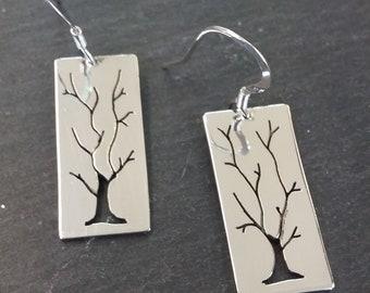 Sherwood Tree Silver Earrings