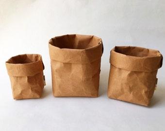 Storage Christmas Set : Kraft Paper Storage /  Eco Bag / Paper Bag / Paper Basket / Stationary / Washable Paper Bag