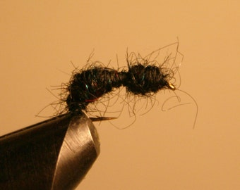 Voler les mouches de pêche - bleu métalliques mouchetures de pêcheur - crochet de pêche à la mouche - mouche pêche leurres - fourmi noire - numéro 10 - fibre noir - rouge-