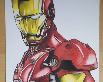 ORIGINAL DRAWING Ironman prismacolor pencil drawing superhero marvel DC art A4