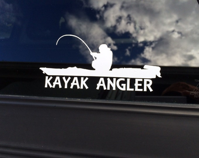 Vinyl kayak angler decal, kayak angler sticker, kayak fisherman, kayak fishing decal, kayak decak, kayak sticker