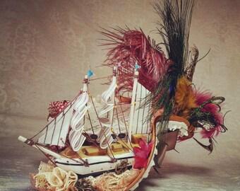 Pirate hat, Tricorn hat, Steampunk Pirate, Rococopunk hat, Marie Antoinette, Cosplay hat, Gothic Lolita, Lolita hat, Carnival hat, Festival