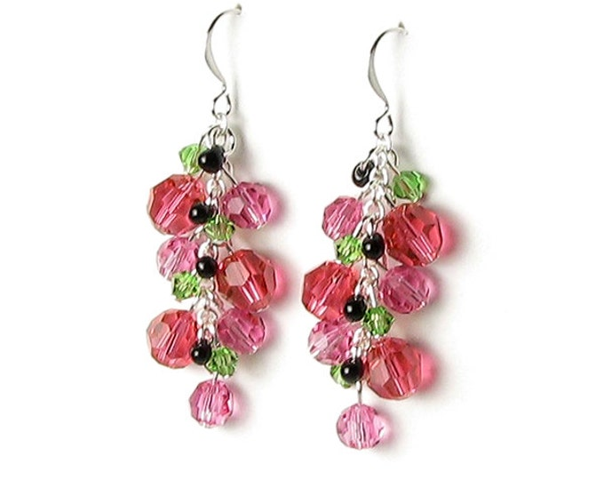 Watermelon Earrings Swarovski Crystal Czech Glass Round Pink Beads Black Seed Bead Green Picnic Fruit Fun Summer Jewelry Gift for Women Teen