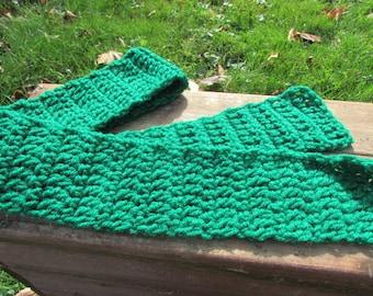 STRING BEAN GREEN. Handmade Crocheted Fall & Winter Scarf. Stocking Stuffer Gift for Child