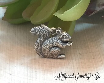 Squirrel Charm, Squirrel Pendant, Nature Charm, Animal Charm, Sterling Silver Charm, Woodland Charm, PS01231